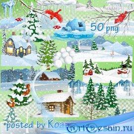 Png клипарт без фона - элементы зимнего пейзажа, деревья, сугробы, снегопад ...