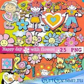Png для дизайна -  Счастливый день с цветами