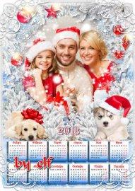 Новогодний календарь с символом 2018 года Собакой - Снежная сказка