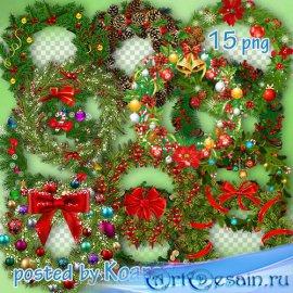 Зимний клипарт png на прозрачном фоне для фотошопа - Рождественские венки