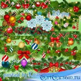 Зимний клипарт png на прозрачном фоне - Новогодние и рождественские гирлянд ...
