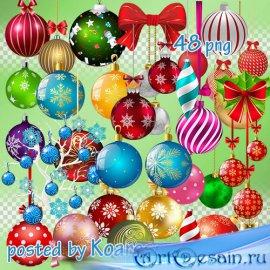 Зимний клипарт png на прозрачном фоне - Новогодние елочные шары - часть 2