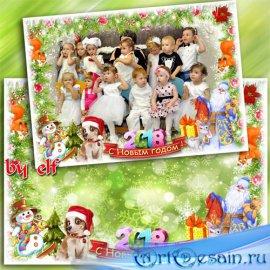 Новогодняя рамка для фото группы в детском саду - Кто в чудесный праздник в ...