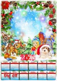 Календарь для фото на 2018 год – Засверкай огнями елка, нас на праздник поз ...