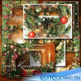 Набор новогодних праздничных рамок для фото в png - Блестящего Нового Года  ...
