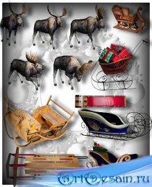 Клипарты png - Сани и олени