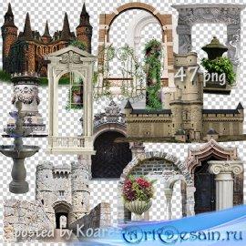 Клипарт png для дизайна - старинные замки, арки, фонтаны и другие элементы  ...