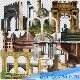 Клипарт png для дизайна - старинные замки, башни, арки, колонны и другие эл ...