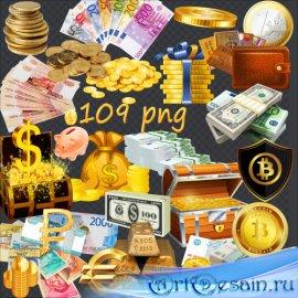 PNG клипарт без фона - Монеты, купюры, слитки, банковские карты, сундуки, к ...