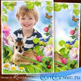 Детская рамка для портретов - Оленёнок на полянке