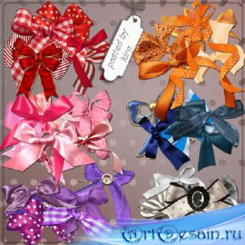 Клипарт для оформления - Банты красные, оранжевые, синие, розовые, фиолетов ...