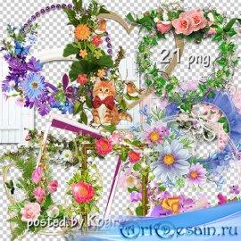 Подборка png рамок-вырезов с цветами для дизайна - Цветочная коллекция