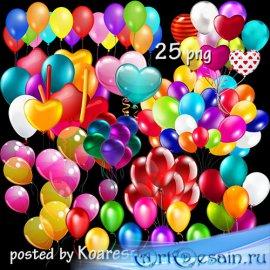 Клипарт png для дизайна - воздушные шарики, связки шаров -1