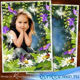 Летняяя рамка для детских фото на природе - Сказочный лес