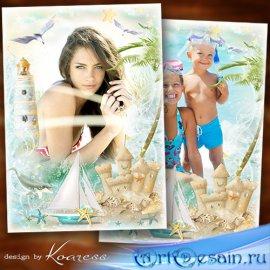 Семейная, детская фоторамка для летних фото с моря - Волна морская, шум при ...