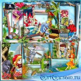 Набор детских фоторамок png - Любимые сказки