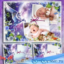 Детская фоторамка для двух фото - Спи мой ангел, засыпай