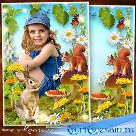 Рамка для детских фото - Летняя полянка