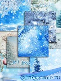 Набор фонов для фотошопа - Снежная зима