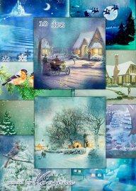 Зимние винтажные фоны для дизайна - Зимние сказки