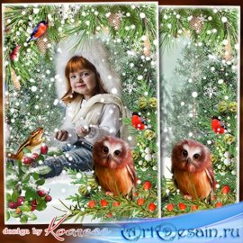 Детская фоторамка-коллаж для фотошопа - Белый снег пушистый в воздухе кружи ...