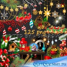 Клипарт на прозрачном фоне - Декоративные элементы для оформления новогодни ...