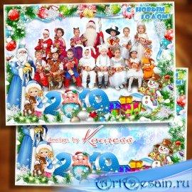 Зимняя рамка для фото группы в детском саду - Любят дети Новый Год, ждут, ч ...