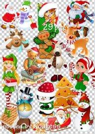 Подборка клипарта png без фона для дизайна - Новогодние, зимние рисованные  ...