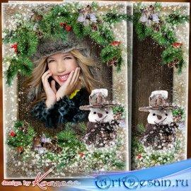 Зимняя фоторамка для фотошопа - За окошком в вальсе кружатся снежинки