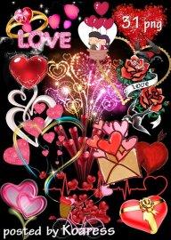 Подборка романтического клипарта к Дню Святого Валентина - Влюбленные сердц ...