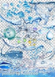 Клипарт png для дизайна - Вода, брызги, капли, лед