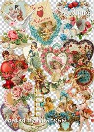 Винтажный клипарт png к Дню Святого Валентина - Set of vintage png clipart  ...
