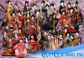Клипарт Японские куколки в традиционной одежде