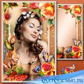 Рамка для Фотошопа - Почему так сладко пахнут розы? Аромат цветов рождает г ...
