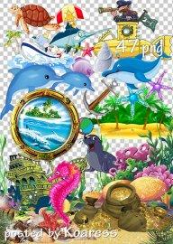 Морской летний png клипарт для дизайна 2 - Marine summer png clipart for de ...