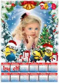 Детский календарь для фотошопа на 2020 год - Новогодняя сказка