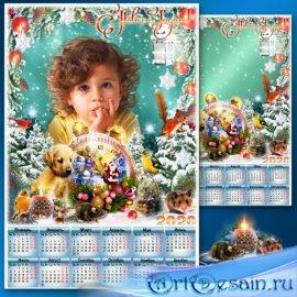 Новогодняя рамка для фото с календарём на 2020 год - Волшебные часы