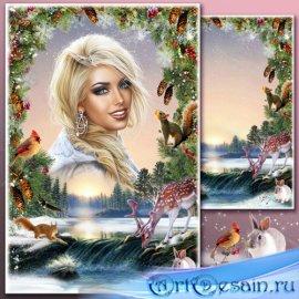 Рамка для Фотошопа - Закат на зимнем озере