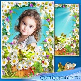 Поздравительная рамка с 8 Марта - Милая ромашка