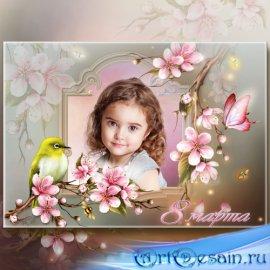 Поздравительная рамка с 8 Марта - Вишнёвый сад