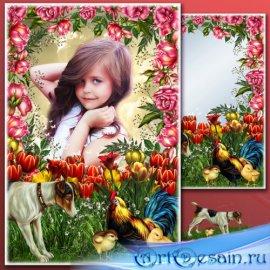 Цветочная рамка для Фотошопа - Весенняя клумба