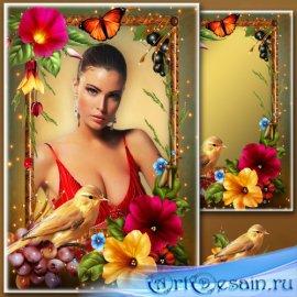 Рамка для Фотошопа - Портрет с канарейкой