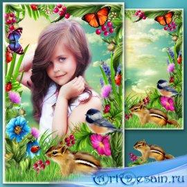 Рамка для Фотошопа - Цветущий луг