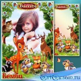 Детская рамка для фотошопа - Любимые сказочные герои мультфильмов 9. Бэмби