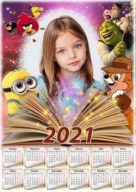 Детский календарь на 2021 год - Любимые мультяшки