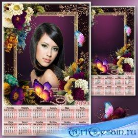 Цветочная рамка для фото с календарём на 2021 год - Меланхолия