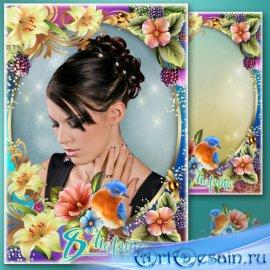 Праздничная рамка для фото к 8 Марта - Нежные лилии