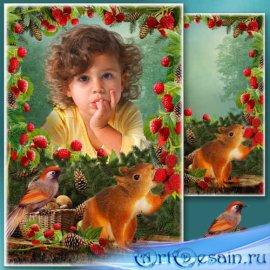 Летняя рамка для фото - Ягода-малина нас к себе манила